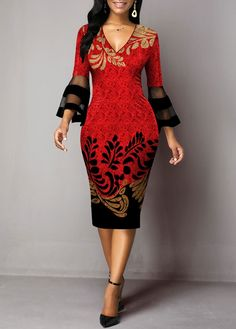 Mesh Panel Leaves Print Flare Sleeve Sheath Dress Women Clothes For Cheap, Collections, Styles Perfectly Fit You, Never Miss It! V Neck Midi Dress, Sheath Dress, Dresses For Sale, Dresses Online, Mode Simple, Club Party Dresses, Half Sleeve Dresses, African Fashion Dresses, Casual Dresses