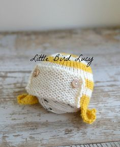 Aviator Hat Knitted Newborn Baby Cap, Hand Knit Infant Beanie, Mustard Yellow and Cream, Photo Prop, NB, 0-3 mo 3-6 mo Toque