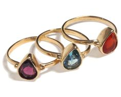 14K Gold Filled stacking delicate drop ring inlaid with colorful gemstone, 14K Gold plated delicate drop ring