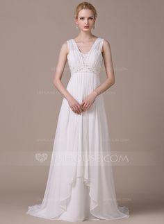 Corte A/Princesa Escote en V Barrer/Cepillo tren Chifón Vestido de novia con Bordado Lentejuelas Cascada de volantes (002058791)
