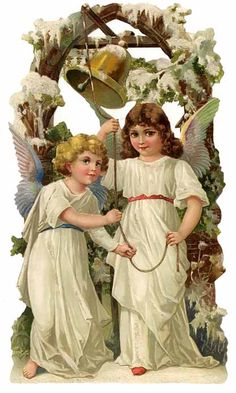 Large Victorian Christmas angels paper scrap from Germany