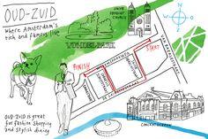 Map of Amsterdam-Zuid by Monique Wijbrands www.moniquewijbrands.nl