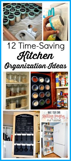 12 Time Saving Kitchen Organization Ideas- If you want to save time in your kitchen, it needs to be organized. Speed up your meal prep with these 12 time-saving kitchen organization ideas! These DIY projects will make it easier to find what you need in your kitchen, and can even give you some extra free space! | organizing, home organization, homemade organizer #organization #diy #organize #kitchenorganization