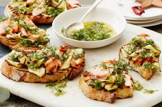 Serve up a delicious Christmas starter with Curtis Stone's barbecued salmon and zucchini bruschetta drizzled with zesty dill sauce.