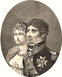 Desideria, Queen of Sweden (nee Desiree Clary), and her husband the king, formerly Marshal Jean Bernadotte.  (They look a little as if they had sat to Edward Gorey in this depiction.)