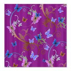 Blue & Purple #Butterflies Shower Curtain $49.50 #showercurtains #designsbyalondra