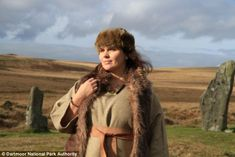 Imaginative recreation of the clothing of the Bronze Age woman whose grave on Dartmore was found in 2011.  A bear pelt was found in 2011 in a peat bog on White Horse Hill wrapped around artifacts found in the grave, including a woven basket containing precious amber beads and earrings, as well as the cremated remains of a woman.