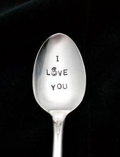 Stamped Spoon Spoon with Diamond Ring by TheSilverwearShop on Etsy, $12.00 https://www.facebook.com/NKsilverwear