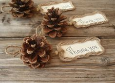 Pine Cone Card Holders Set of 100 Wedding Table by VENDecor, $170.00