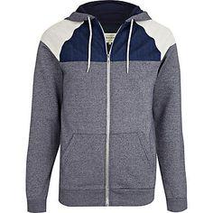 Navy contrast colour block yoke hoodie - hoodies - hoodies / sweatshirts - men