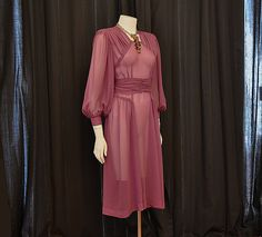 1940s dress / Lovely In Lilac Vintage 40's Sheer Billowy Silk Chiffon Dress. $225.00, via Etsy.