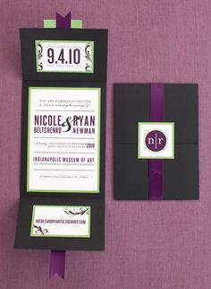 Purple and green invitations