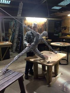 These fantasy wire sculptures of fairies are by Robin Wight, it's hard to believe he only started creating them a year ago as they are absolu Chicken Wire Art, Chicken Wire Sculpture, Wire Art Sculpture, Wire Sculptures, Robin Wight, Fantasy Wire, Fantasy Fairies, Mushroom Art, Metal Projects
