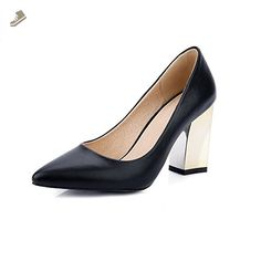 AmoonyFashion Women's Solid Pu High Heels Pointed Closed Toe Pull On Pumps-Shoes, Black, 42 - Amoonyfashion pumps for women (*Amazon Partner-Link)