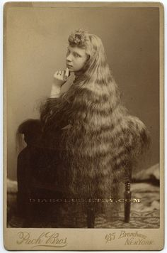 Antique Photo of Victorian Girl with Very Long Hair. I guess the mullet has been around a long, long time!