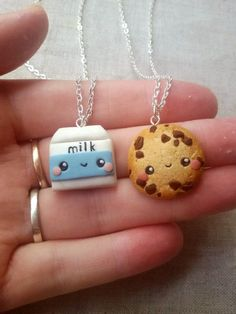 MADE TO ORDER! These are handmade charms out of polmer clay. As yummy as they look like it is not edible :) Milk and Cookie necklaces are