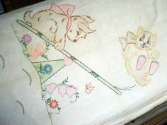 1940s Baby Blanket Coverlet Hand Embroidered