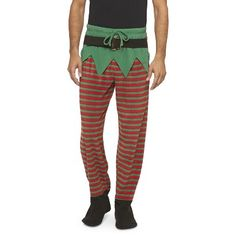 Am I the only one loving these? Too cute! Men's Elf Footed Sleep Pants - Green/Red