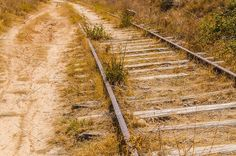Perspective view of an abandoned railway surrounded by grass. Abandoned Train, Abandoned Places, Train Tracks, Ghost Towns, The Great Outdoors, Railroad Tracks, Places To Visit, Around The Worlds, Trains