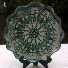 Decorative Plate or Platter, green and white