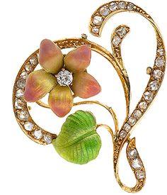 Art Nouveau Diamond & Enamel Pin