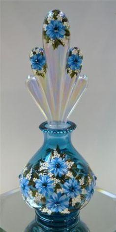 Fenton Perfume Bottle Turquoise & Swarovski