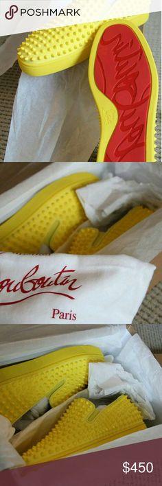 Christain Louboutin  Yellow 100% Authentic Colorway limited Few Only Sizes Text 404_602_2558 for any offers Christian Louboutin Shoes Sneakers
