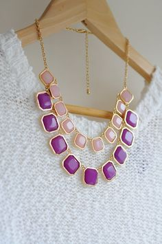 Pink and Purple Square Blink Acrylic 2-Layer Collar Necklace