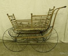 Antique Victorian Wooden Baby Stroller