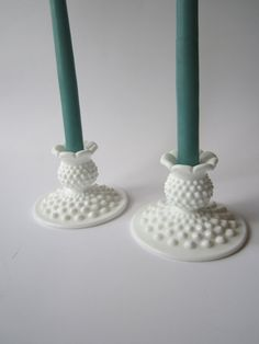 Vintage Fenton Milk Glass Hobnail Candleholder by mymilkglassshop, $42.50