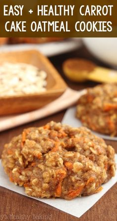 Healthy Carrot Cake Oatmeal Cookies – these skinny cookies don't taste healthy at all! You'll never need another oatmeal cookie recipe again! simple carrot cookies for easter. Healthy Oatmeal Cookies, Healthy Cookie Recipes, Oatmeal Cookie Recipes, Carrot Recipes, Healthy Sweets, Healthy Baking, Cooking Recipes, Eating Healthy, Easy Healthy Deserts