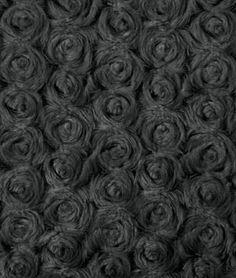 Black Minky Rose Swirl Fabric