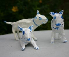 Papier Maché Bull Terrier in Blue and White by TheTerriersClub