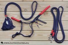 Complete voordeelset; Touwhalster, teugels, neckrope & clips - Donkerblauw/rood / Complete discount set: Ropehalter, reins, neckrope & clips - Navy/red