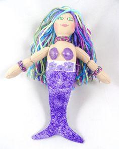 Mermaid Doll  Purple Mermaid Art Doll  Toy Mermaid by JoellesDolls