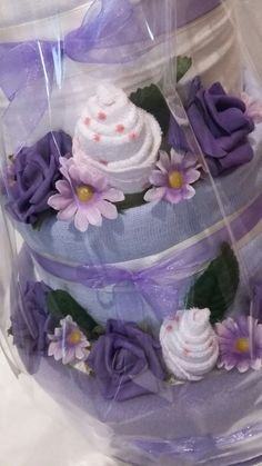 Lilac themed nappy cake