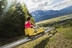 Pipe Mountain Coaster at Revelstoke Mountain Resort. This looks like so much fun. Camping Places, Places To Travel, Revelstoke Bc, Discover Canada, Visit Canada, Canada Trip, Canadian Travel, Mountain Resort, Travel Goals