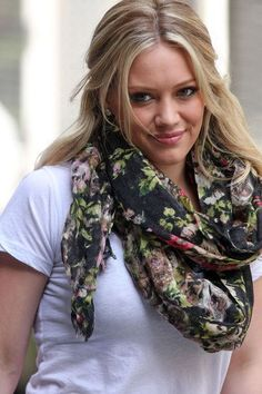 Hilary Duff brings in the spring with this floral infinity scarf. Get more style inspiration. Watch Younger on TV Land. Tuesdays, 10/9C, http://www.tvland.com/shows/younger.