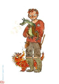 Charlie Weasley at work in the dragon nursery