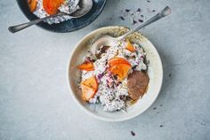 Quinoa Bircher with Persimmons & Petals