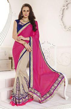 USD 80.45 Fuchsia Pink Satin Party Wear Lehenga Saree 41443