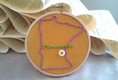Minneapolis Minnesota, Cute as a Button, Embroidery by DelOrange, $10.00