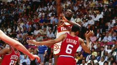 ATLANTA - 1988: Dominique Wilkins #21 of the Atlanta Hawks attempts a shot against Julius Erving #6 of the Philadelphia 76ers during a 1987 NBA gamae played at the Omni Coliseum in Atlanta, Georgia. Copyright 1988 NBAE (Photo by Scott Cunningham/NBAE via Getty Images)