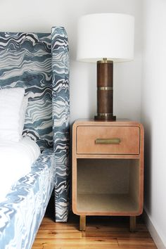 Our New, Bold Headboard And Caramel Leather Nightstands