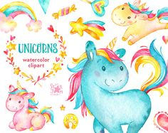 Unicorns. Watercolor clip art, rainbow, hearts, flowers, stars, candy, horses, characters, greeting, invite, wreath, diy, flowers, baby