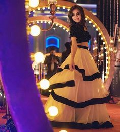 White and black indowestern dress stylish party wear christmas eve dress Indian Wedding Gowns, Indian Gowns Dresses, Lovely Dresses, Stylish Dresses, Fashion Dresses, Indian Designer Outfits, Designer Dresses, Lehnga Dress, Dress Indian Style