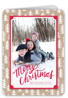 Frosted Tree Frame Christmas Card, Rounded Corners, Brown