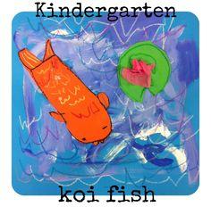 I pin this because I LOVE Koi fish! Elementary Art Lesson Plans, Kindergarten Art Lessons, Primary Lessons, Classroom Art Projects, Art Classroom, Future Classroom, September Art, Animal Art Projects, Art Activities