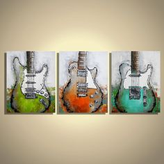 Guitar painting, Music wall art, Guitar art on canvas by Magda Magier