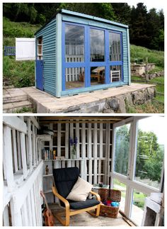 This is a shed/summerhouse made almost entirely out of recycled materials. The windows are made of old doors from a local doctors surgery that was being refurbished, and the walls are made up entirely of pallet wood. This shed was entered into a contest and won £1000, which was donated to The Josep…